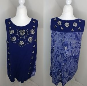 Lucky Brand embroidered and beaded tank top XL